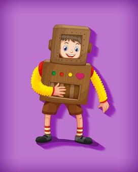 Netter junge, der roboterkostüm in stehender position isoliert trägt