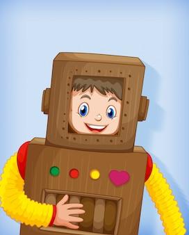 Netter junge, der roboterkostüm trägt