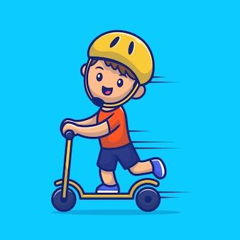 Netter junge, der roller elektrische karikatur-symbol-illustration spielt. personentransport-symbol-konzept isolierte prämie. flacher cartoon-stil