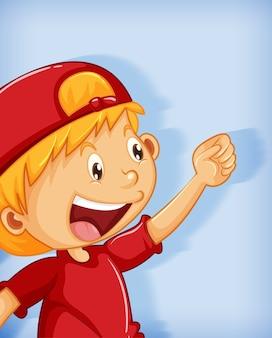Netter junge, der rote kappe mit würgegriff-positionskarikaturfigur auf blauem hintergrund isoliert trägt