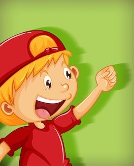 Netter junge, der rote kappe mit würgegriff-positionskarikaturfigur lokalisiert auf grünem hintergrund trägt