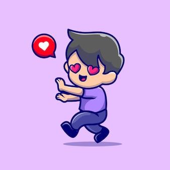 Netter junge, der sich in cartoon-symbol-illustration verliebt.