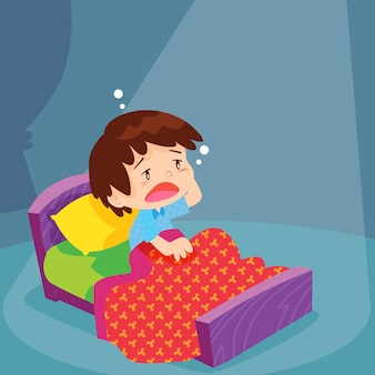 Netter junge hat schlaflos