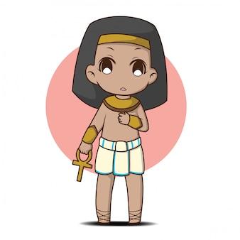 Netter junge im ägyptischen kostüm., zeichentrickfigur.