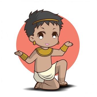 Netter junge im ägyptischen kostüm, zeichentrickfilm-figur.
