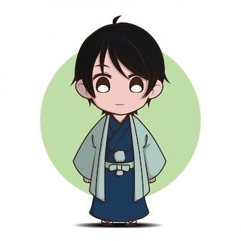 Netter junge im yukata-kostüm., yukaya ist japanische nationaltracht.