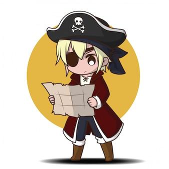 Netter junge in der piratenkostümkarikatur