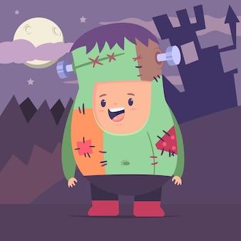 Netter junge in einem zombiekostüm auf dem raum des mondes, der burg und des waldes. flache kinderfigur des halloween-vektorkarikatur.