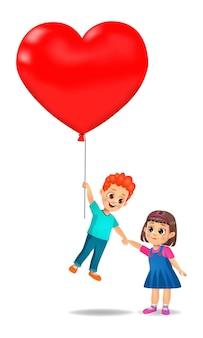 Netter junge junge und mädchen fliegen, indem sie einen riesigen herzförmigen ballon halten