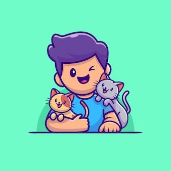 Netter junge katzenliebhaber mit katze cartoon illustration