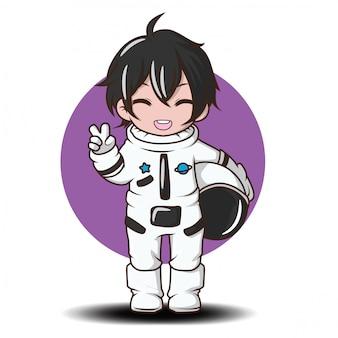 Netter junge mit astronautenkostüm