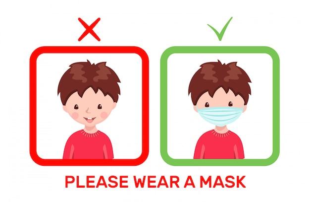 Netter junge mit medizinischer maske und ohne maske im karikaturstil lokalisiert
