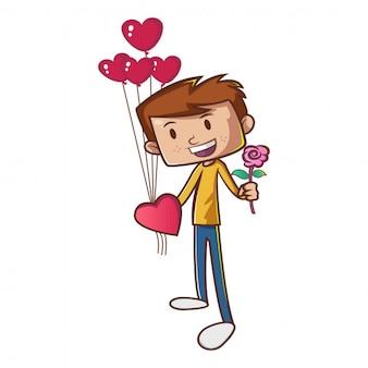 Netter junge mit rotem herzformballon und rosa blume.