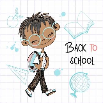 Netter junge mit schulrucksack geht zur schule. zurück zur schule. vektor.