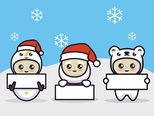 Netter junge mit weihnachtsmann-weihnachten, der einladungsfahne hält