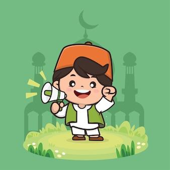 Netter junge moslem ramadan charakterillustration