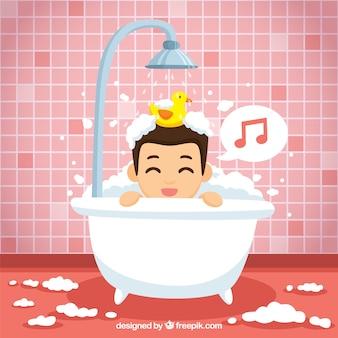 Netter junge singen im badezimmer