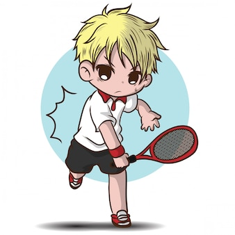 Netter junge spielen tennis zeichentrickfigur.