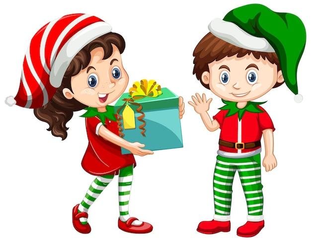 Netter junge und mädchen, die weihnachtskostümkarikaturfigur tragen