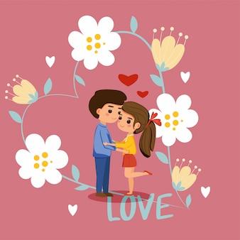 Netter junge und mädchen in der liebe im blumenrahmen für valentinstagkarte