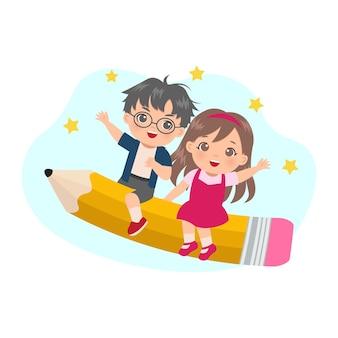 Netter junge und mädchen reiten auf großem bleistift mit glücklichem gesicht. zurück zum schulkonzept. flaches cartoon-design.
