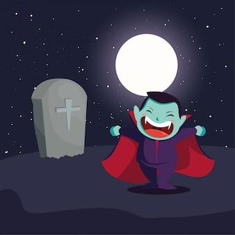 Netter junge verkleidet vom vampir in der szene von halloween