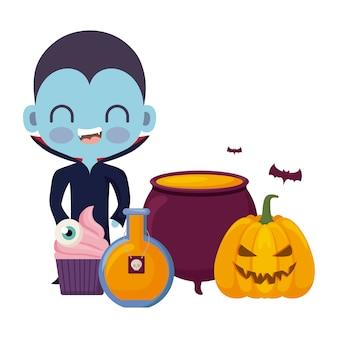 Netter junge verkleidet vom vampir in halloween