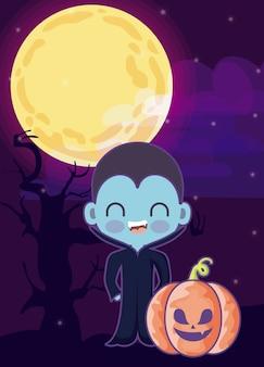 Netter junge verkleidet vom vampir