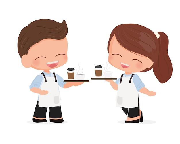 Netter junger kaffeecafékellner oder barista der netten karikatur in der blauen hemduniform