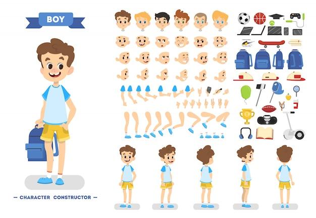 Netter junger männlicher jungen-zeichensatz für animation mit verschiedenen ansichten, frisuren, emotionen, posen und gesten.