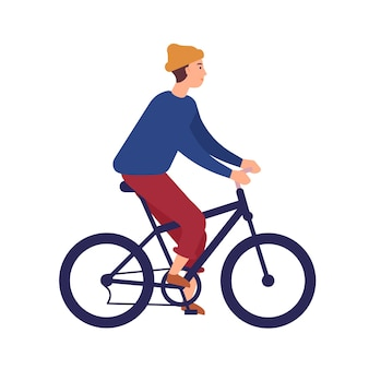 Netter junger mann oder junge, der freizeitkleidung und mützenhut auf bmx-fahrrad trägt