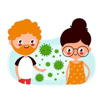 Netter junger mann und frau, die coronavirus durch luftübertragung übergeben. flache karikaturcharaterillustration. auf weißem hintergrund isoliert