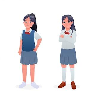 Netter junger student girl wearing japanese uniform character design