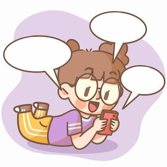 Netter junger teenager im chat mit freunden doodle illustration asset