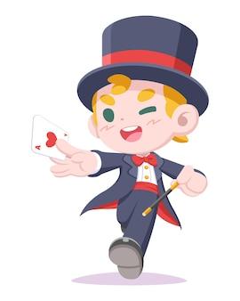 Netter junger zauberer, der karte und zauberstabkarikaturillustration hält