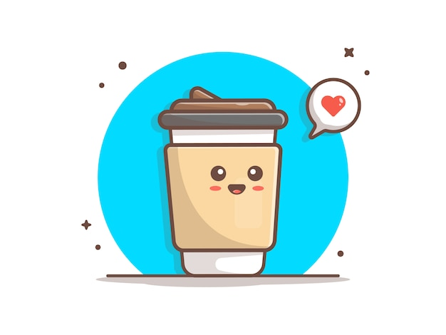 Netter kaffee mit liebes-ikonen-illustration