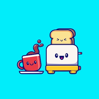 Netter kaffee mit toaster-brot-cartoon-vektor-illustration. frühstücks-lebensmittel-konzept-isolierter vektor. flacher cartoon-stil