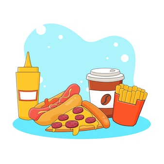 Netter kaffee, pizza, hotdog, pommes frites und senfsauce symbolillustration. fast-food-icon-konzept. cartoon-stil