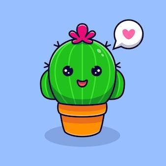 Netter kaktus, der sich glücklich fühlt. flacher cartoon