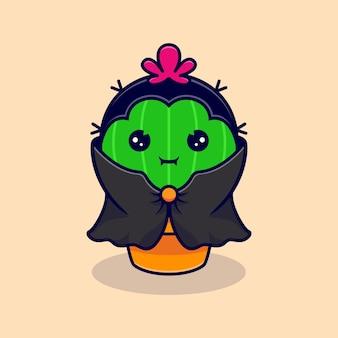 Netter kaktus dracula, der dunklen umhang trägt. flacher cartoon