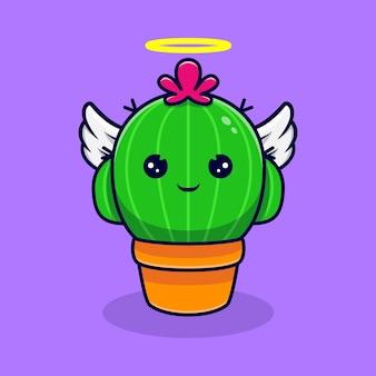Netter kaktus-engel haben flügel. flacher cartoon