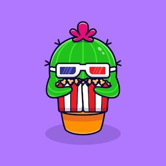 Netter kaktus film ansehen und popcorn essen. flacher cartoon