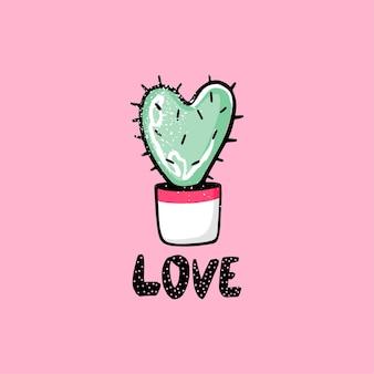 Netter kaktus geformt wie ein herz und liebesbeschriftungssatz. vektorillustration.