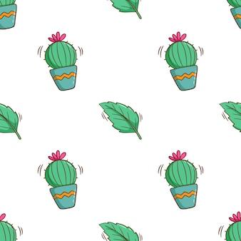 Netter kaktus im nahtlosen muster mit farbigem gekritzelstil
