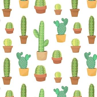 Netter kaktus im nahtlosen topfmuster