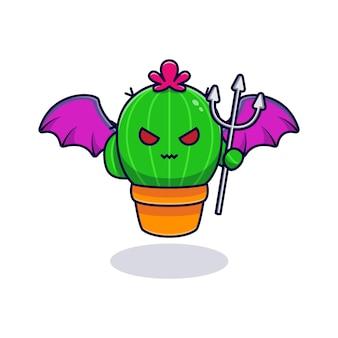 Netter kaktus-teufel, der speer enthäutet und hält. flacher cartoon