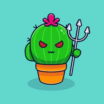 Netter kaktus-teufel ist wütend. flacher cartoon