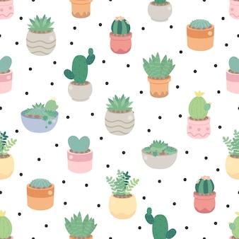 Netter kaktus und sukkulente auf punkt nahtlos muster eps10 vektoren illustration