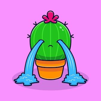 Netter kaktus weinen. flacher cartoon