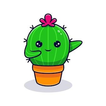 Netter kaktuscharakter, der auf einen topf tupft. flache karikaturillustration